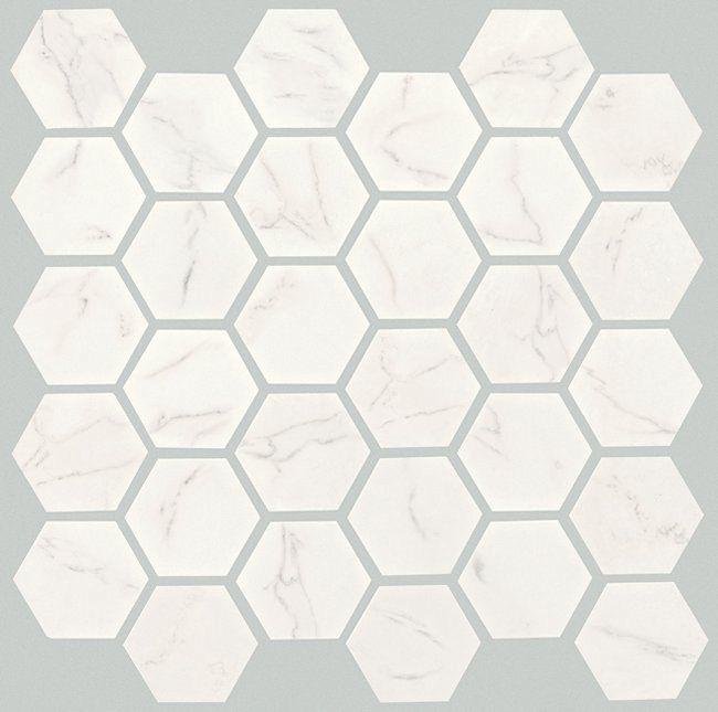 White 2x2 hex garden state tile for Crossville tile virtue