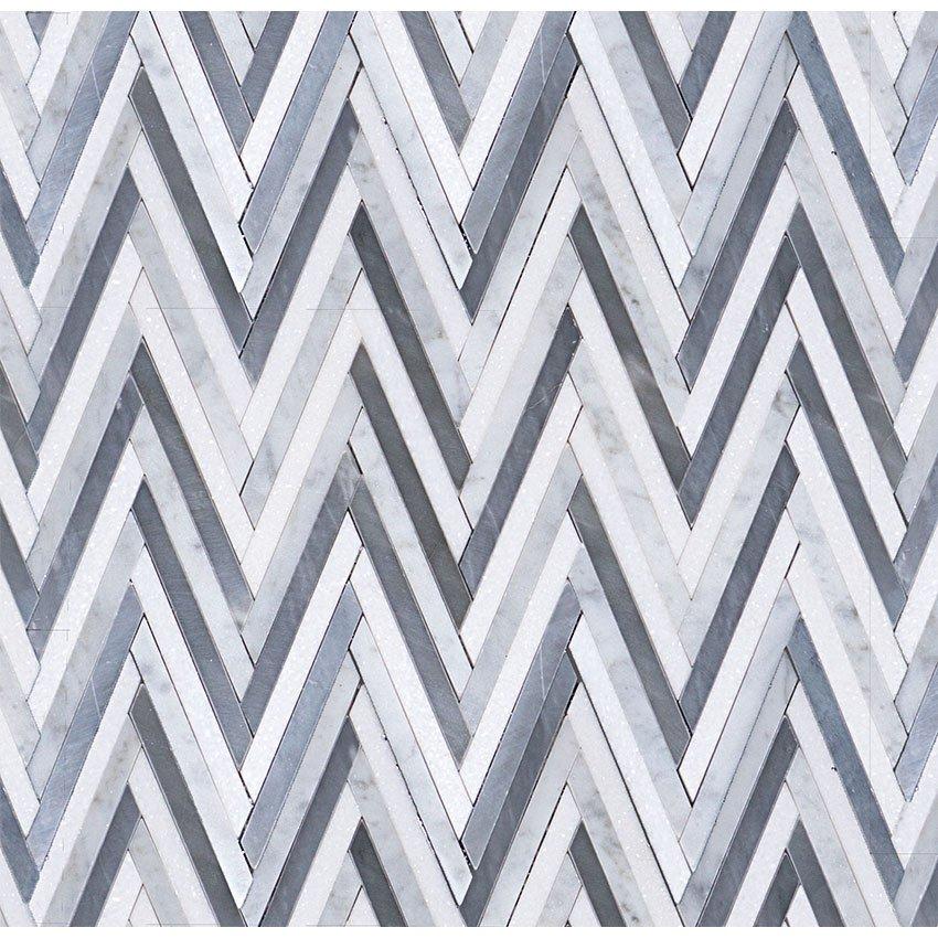 Bardiglio Carrara Thassos Chevron Garden State Tile