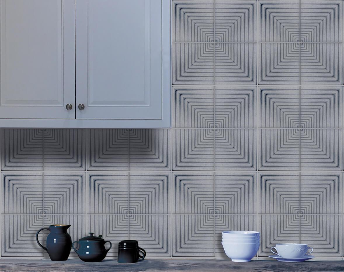 Illusion tile backsplash