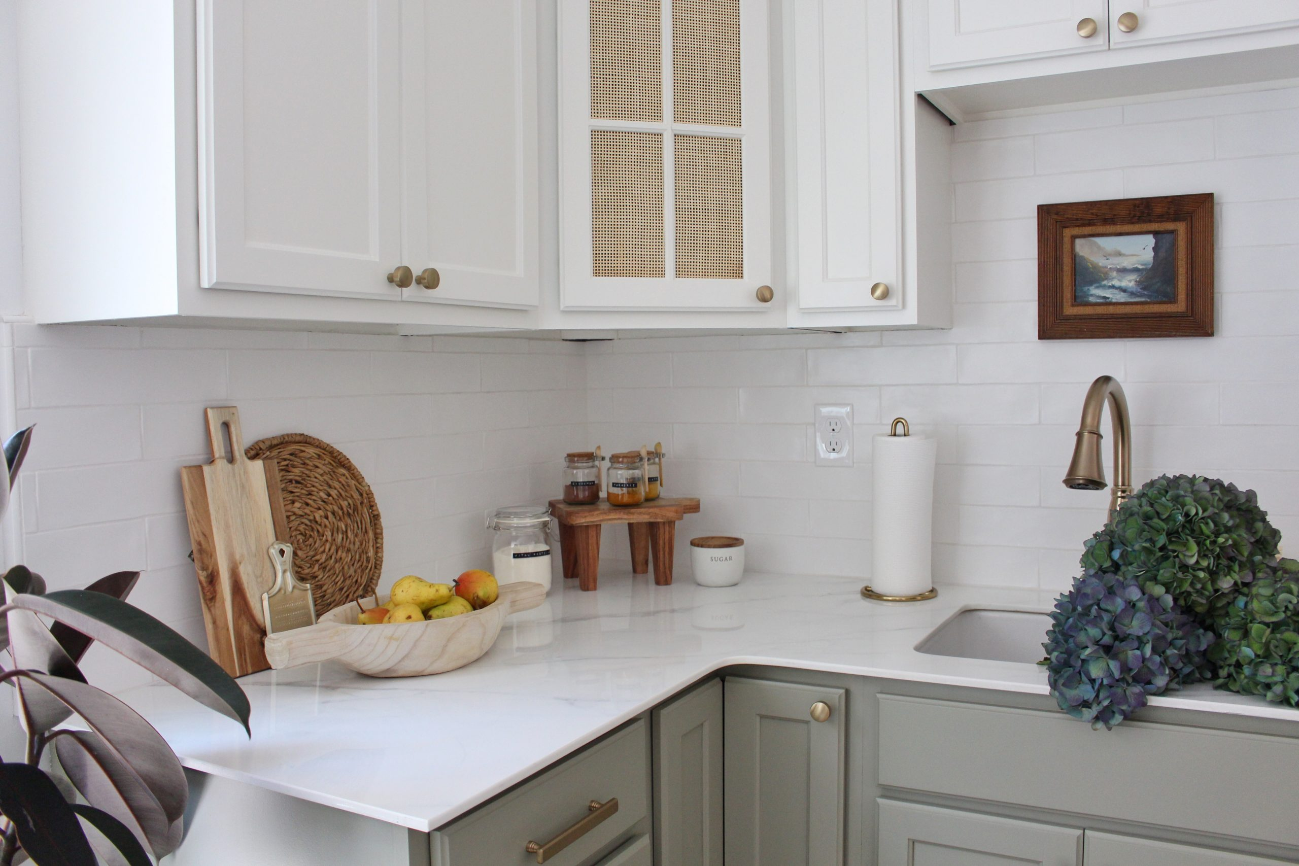 Porcelain Countertops and Subway Tile Backsplash